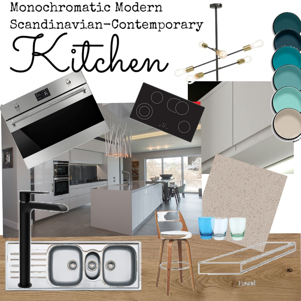 Modern Monochromatic Kitchen Interior Design Mood Board by JennyMynhardt on Style Sourcebook