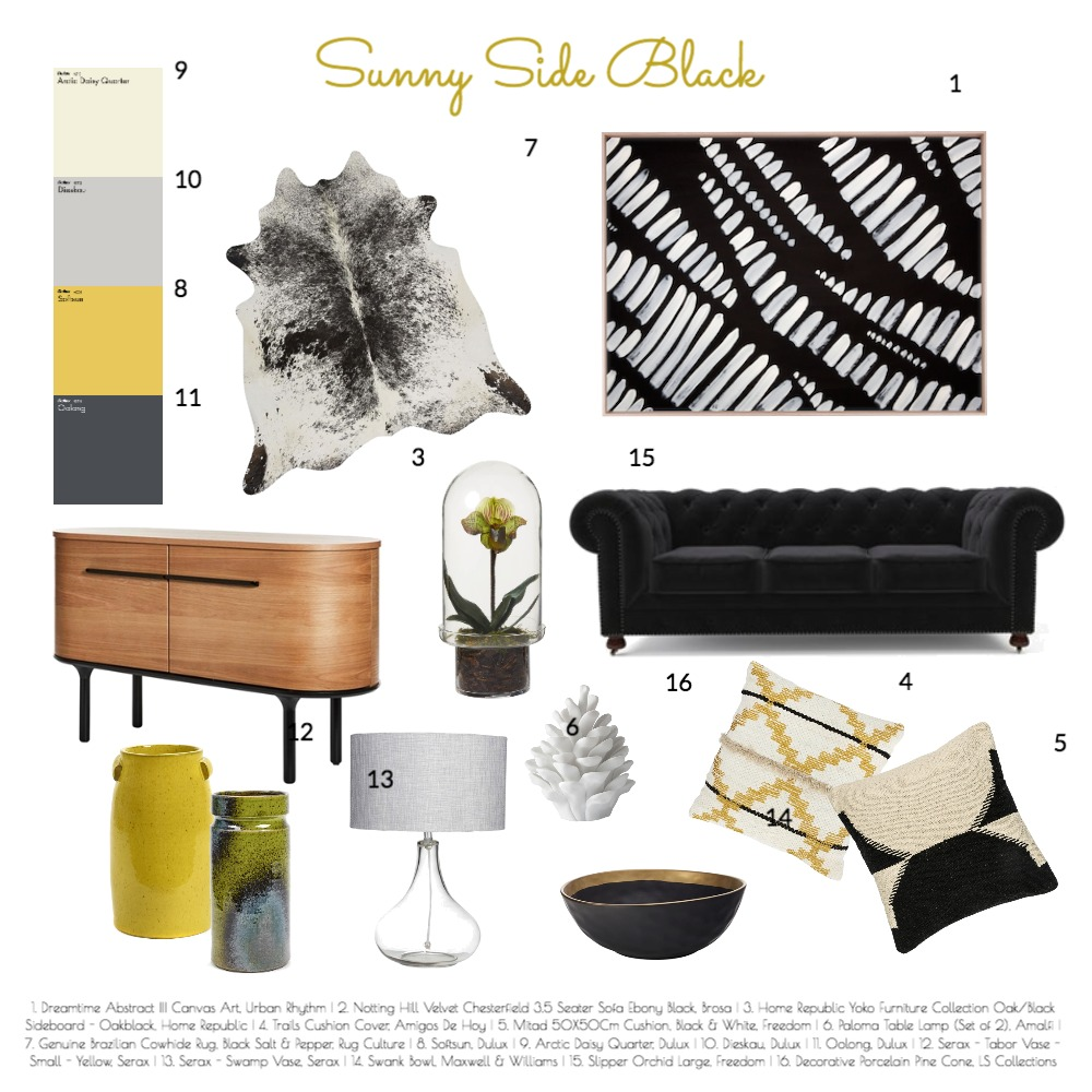 Sunny Side Black Interior Design Mood Board by Heritage Hall Style & Design on Style Sourcebook