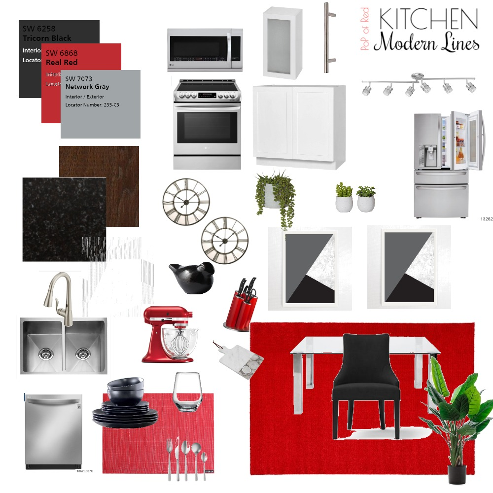 PoP of Red - Kitchen Interior Design Mood Board by brianna-mcdonald on Style Sourcebook