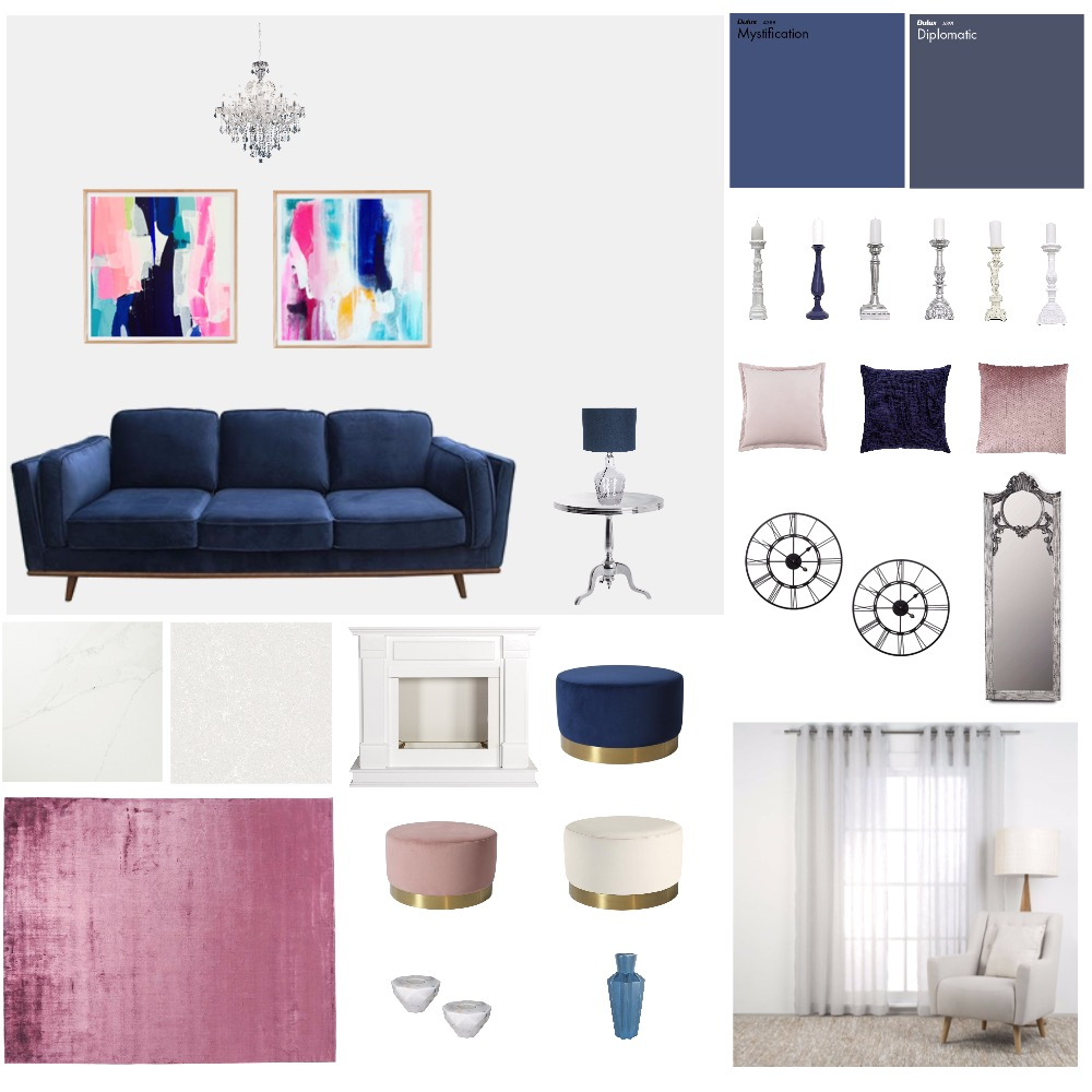 Living room classic glam Interior Design Mood Board by Designs by Sophie on Style Sourcebook