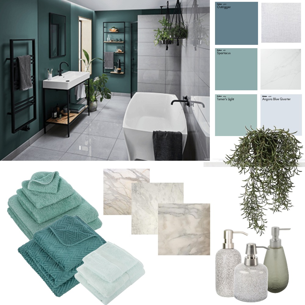 Mossy Bathroom Interior Design Mood Board by CharlieBe on Style Sourcebook