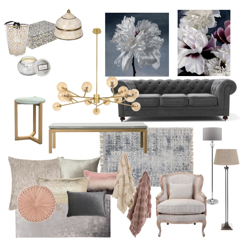 Hamptons In Pink and Grey Interior Design Mood Board by Jo Laidlow on Style Sourcebook
