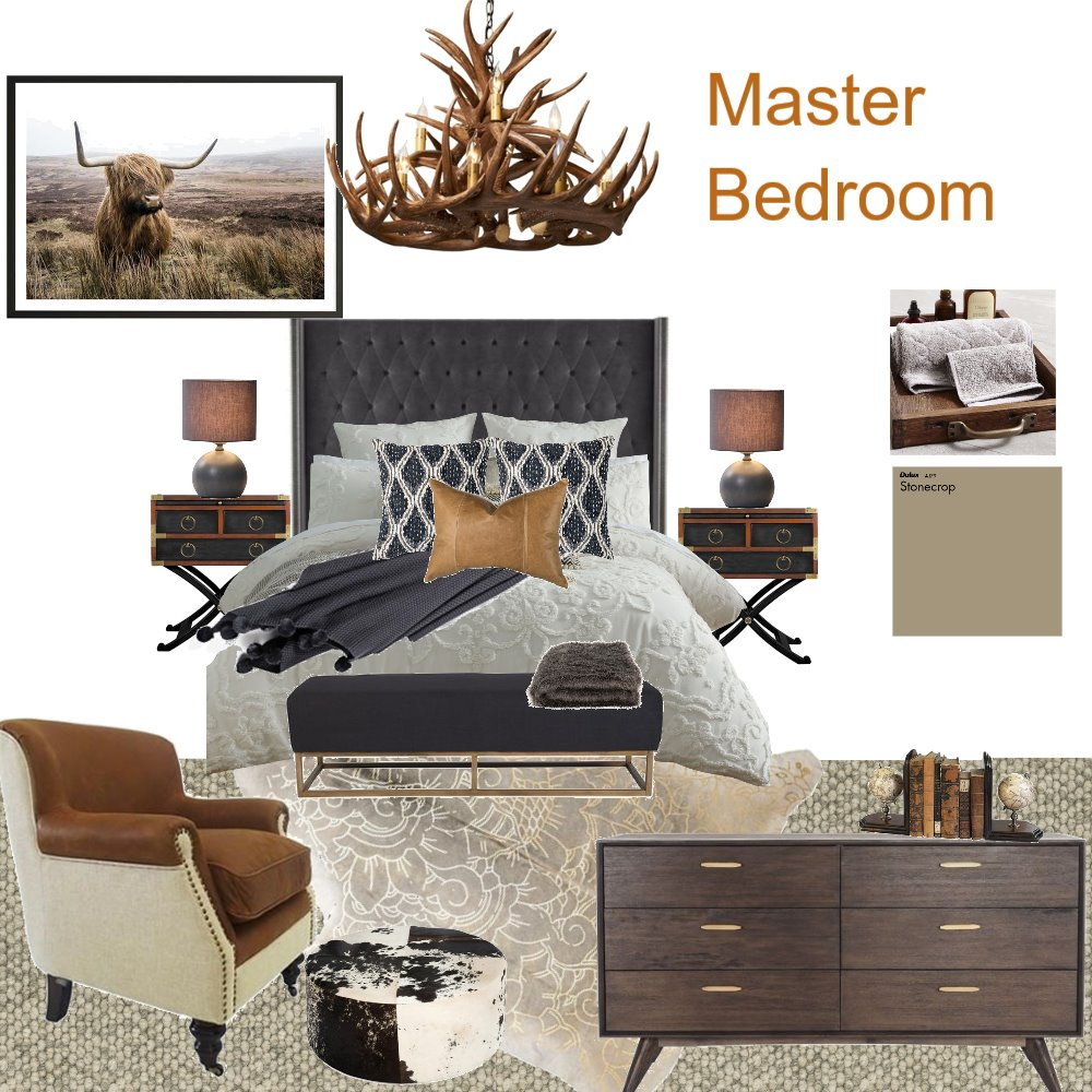 refurb ski lodge master bed Interior Design Mood Board by debeecullum on Style Sourcebook