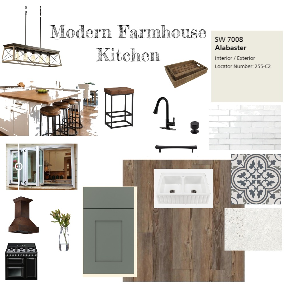 Modern Farmhouse Kitchen Interior Design Mood Board by Repurposed Interiors on Style Sourcebook