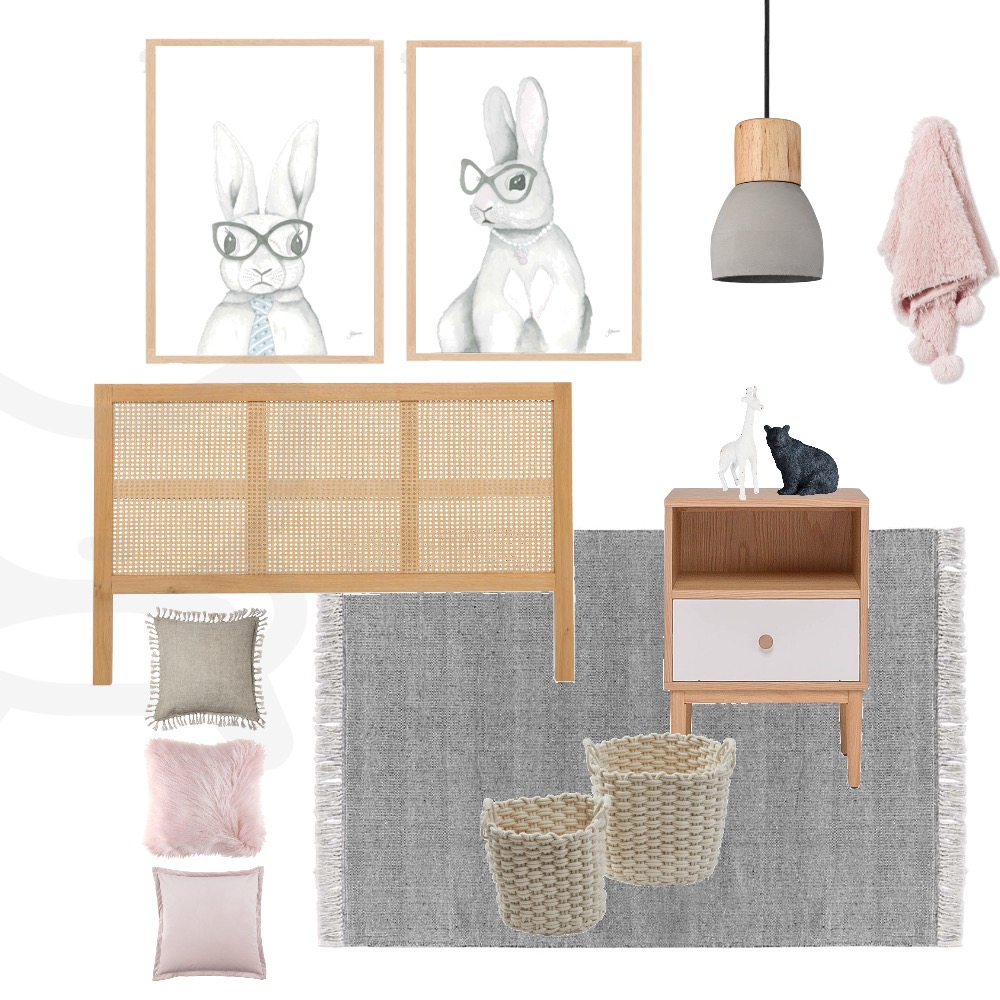 Girls Pink and Grey Rabbit Room Mood Board by My Interior Stylist on Style Sourcebook