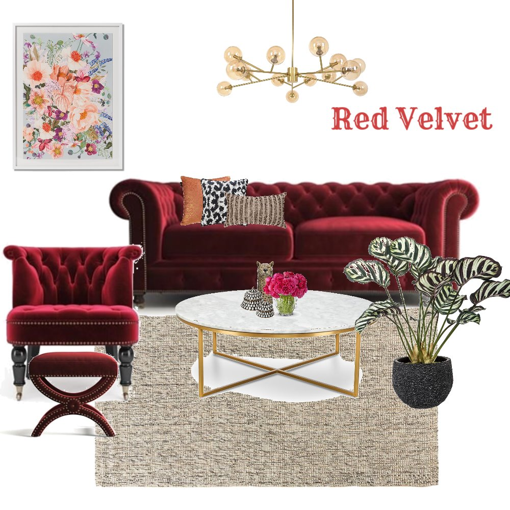 Red Velvet Interior Design Mood Board by debeecullum on Style Sourcebook