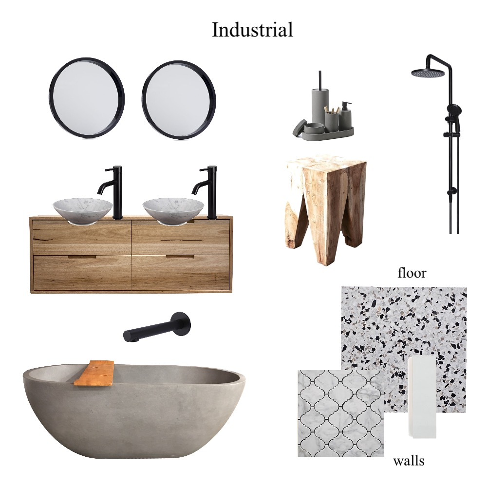 Bathroom. industrial Interior Design Mood Board by Styledyourway on Style Sourcebook