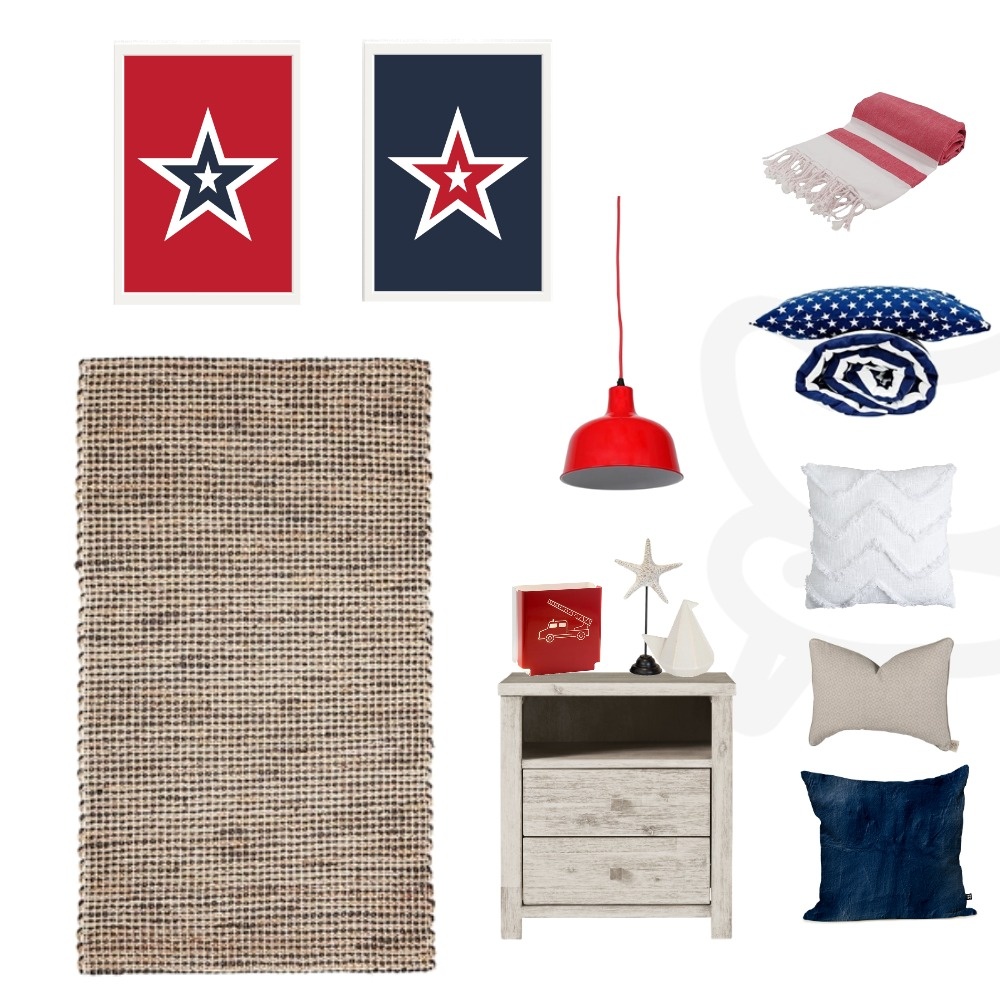 Boys blue and red bedroom styling Interior Design Mood Board by My Interior Stylist on Style Sourcebook