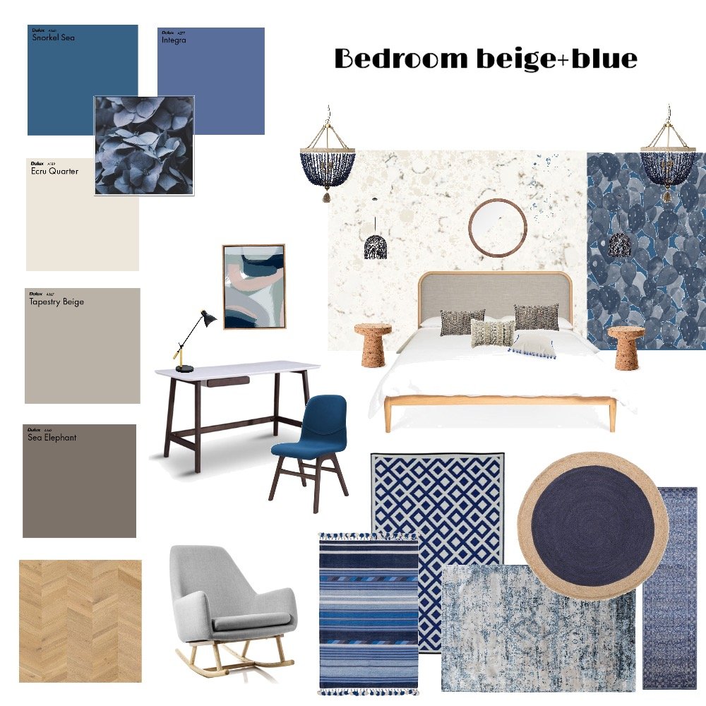 Bedroom beige+blue Interior Design Mood Board by Zhenya on Style Sourcebook
