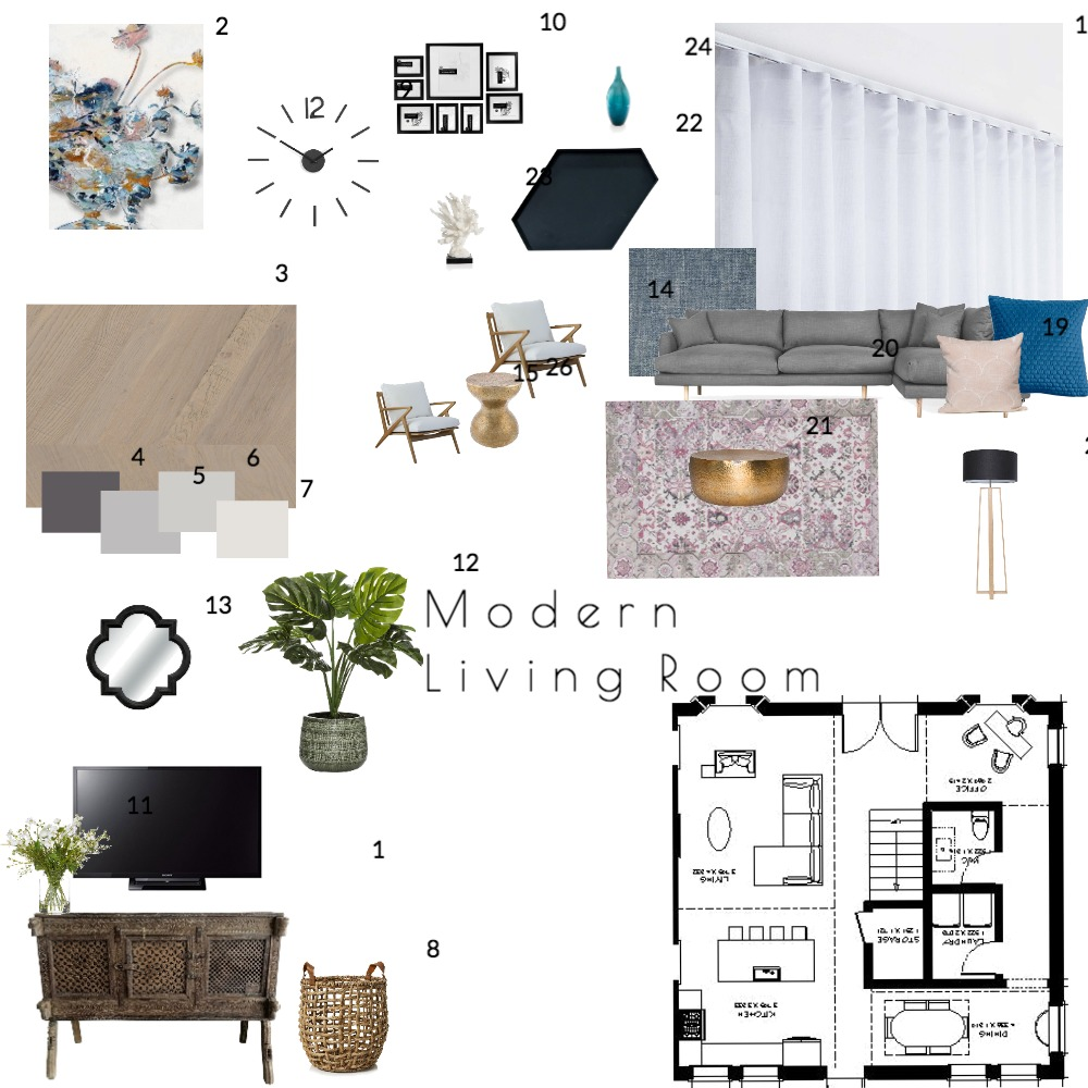Mod 9- Living Room Mood Board by GillianD on Style Sourcebook
