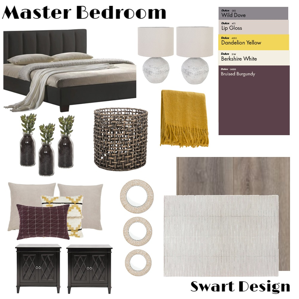 Master bedroom yellow purple Mood Board by ChandreSwart on Style Sourcebook