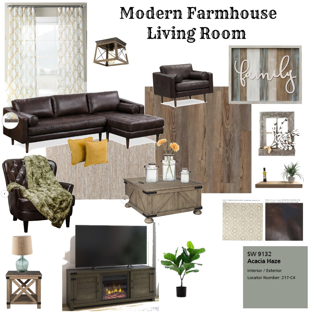 Modern Farmhouse Living Room Mood Board by Repurposed Interiors on Style Sourcebook