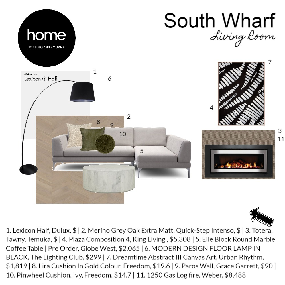 South Wharf Living Interior Design Mood Board by Home Styling Melbourne on Style Sourcebook