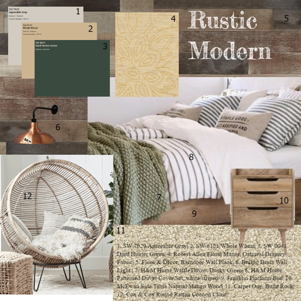 Rustic Modern Bedroom Interior Design Mood Board by KHirschi on Style Sourcebook
