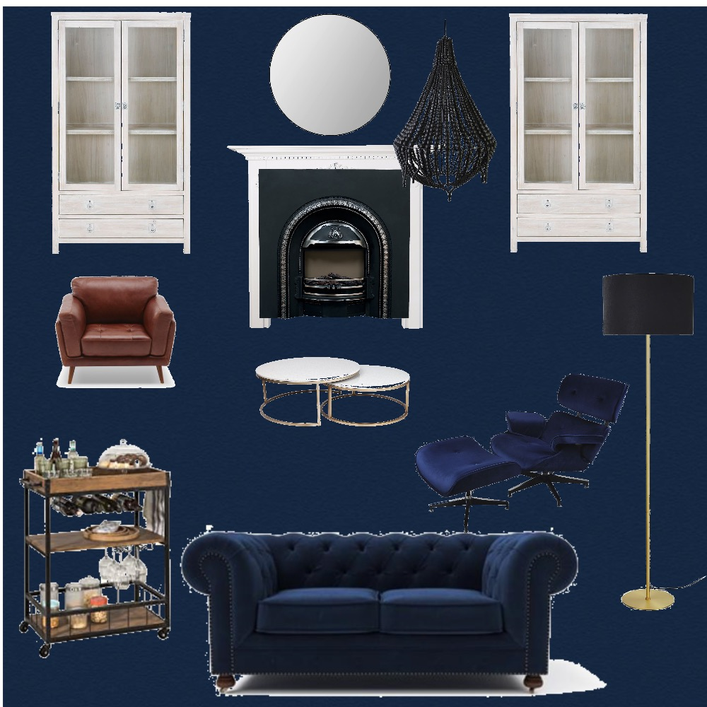 Navy Living Room Interior Design Mood Board by LMH Interiors on Style Sourcebook