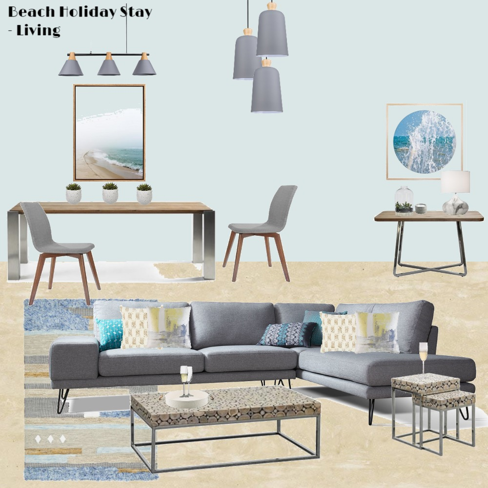 Beach Holiday Stay Living/Dining Interior Design Mood Board by Jo Laidlow on Style Sourcebook