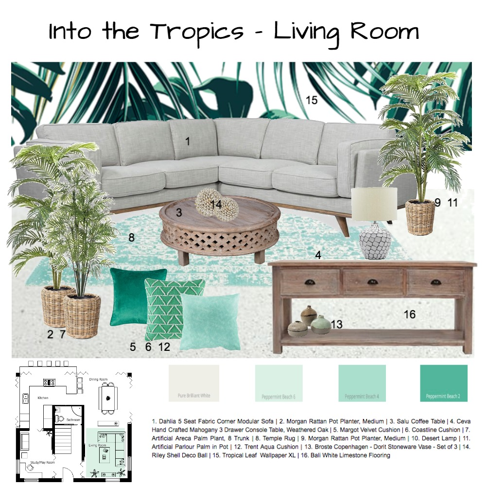 Into the Tropics Interior Design Mood Board by tracy.sa on Style Sourcebook