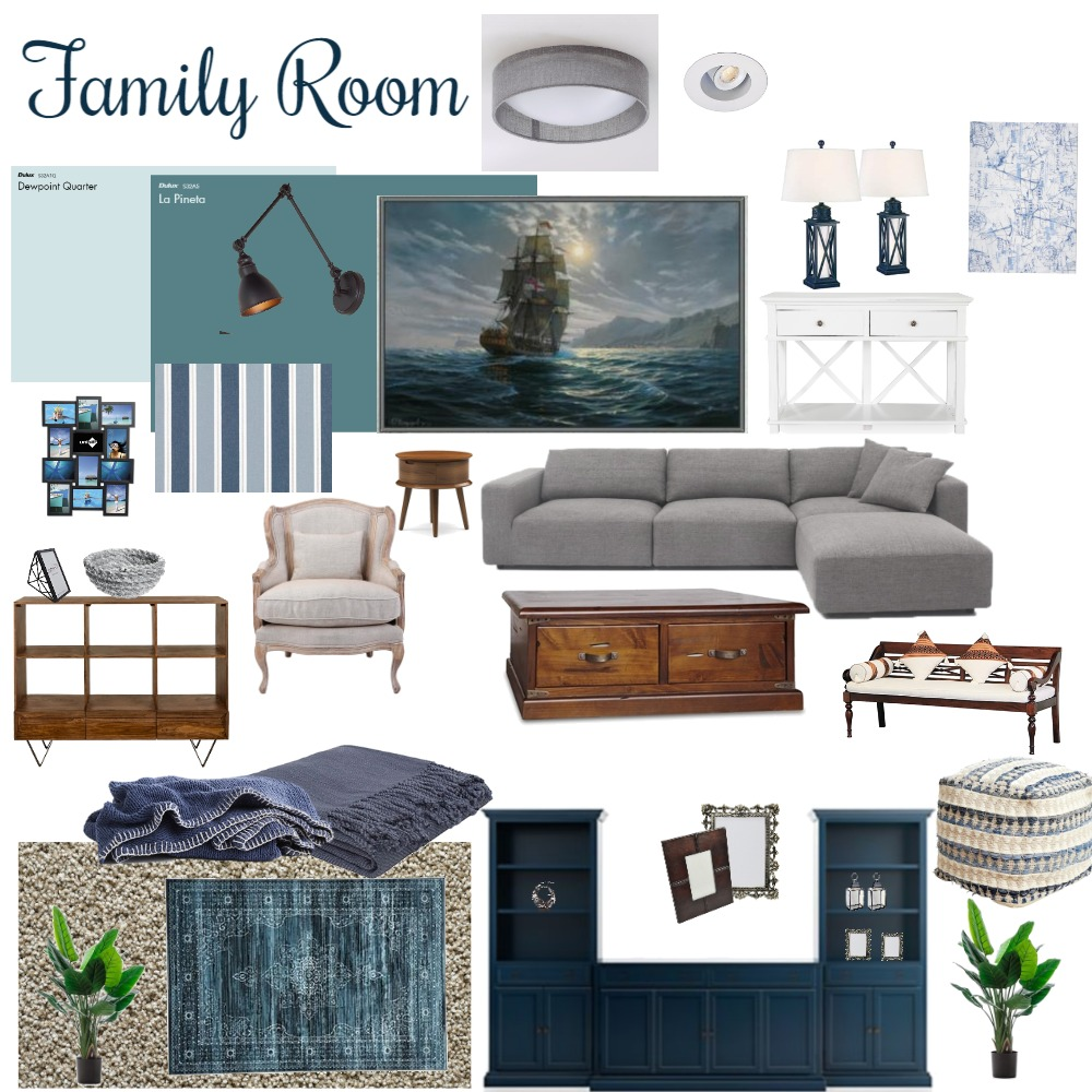 Monochromatic Moodboard for Family Room (Nautical Themed) Interior Design Mood Board by ZoeStudent on Style Sourcebook