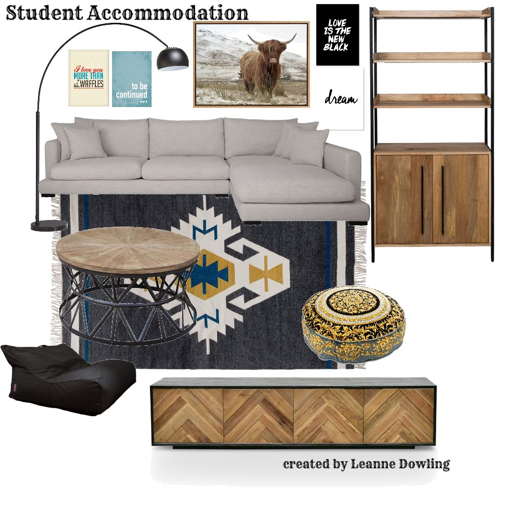 Student Accommodation loungeroom Interior Design Mood Board by leannedowling on Style Sourcebook