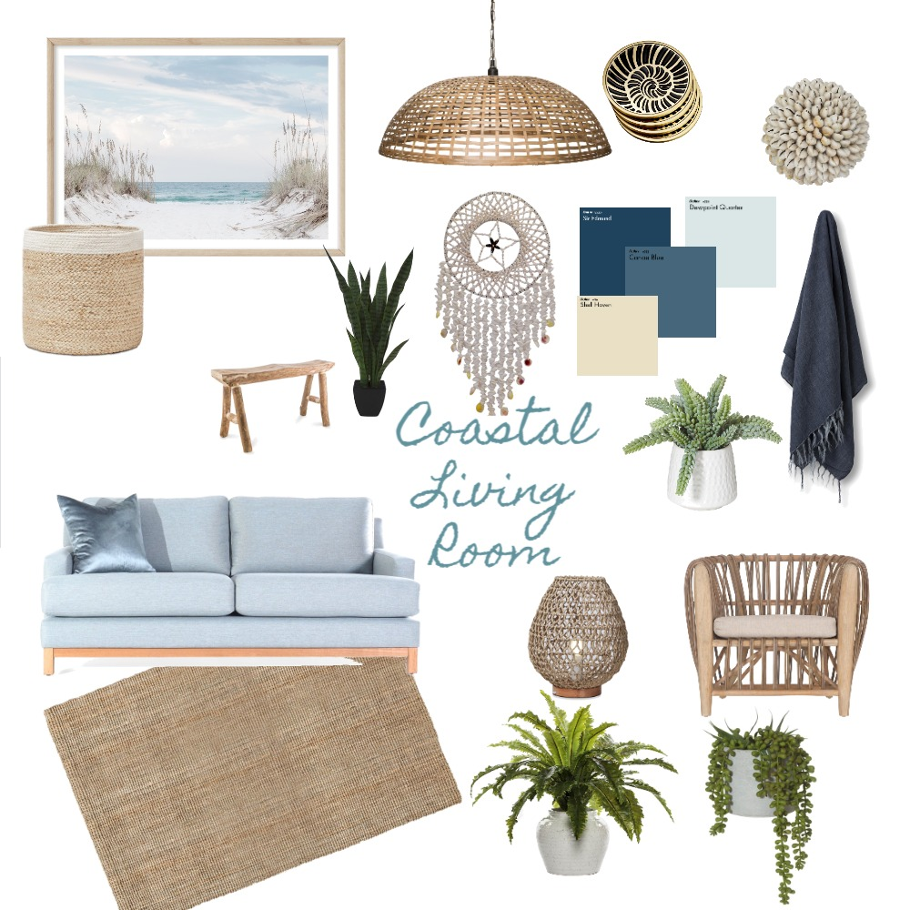 Coastal Living Room Interior Design Mood Board by laurenlemerle on Style Sourcebook
