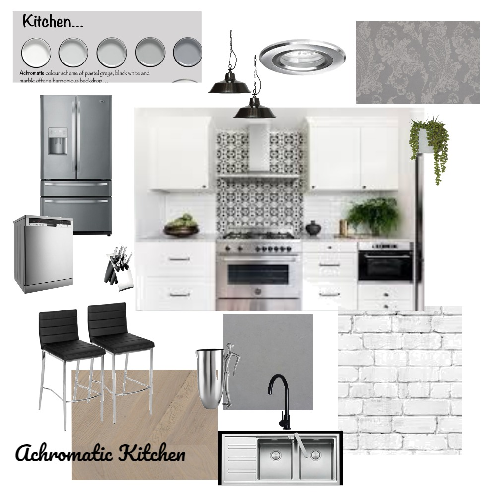 Achromatic Kitchen Interior Design Mood Board by Maxibaby on Style Sourcebook