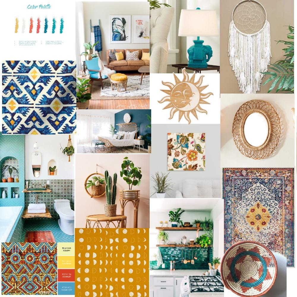 Boho Chic Interior Design Mood Board by Ksantikian on Style Sourcebook