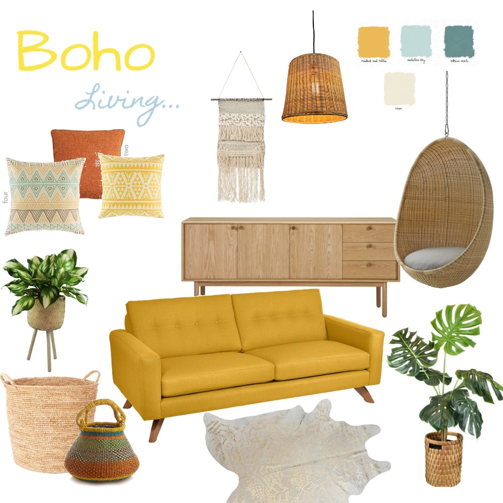 Boho living Interior Design Mood Board by HeidiN on Style Sourcebook