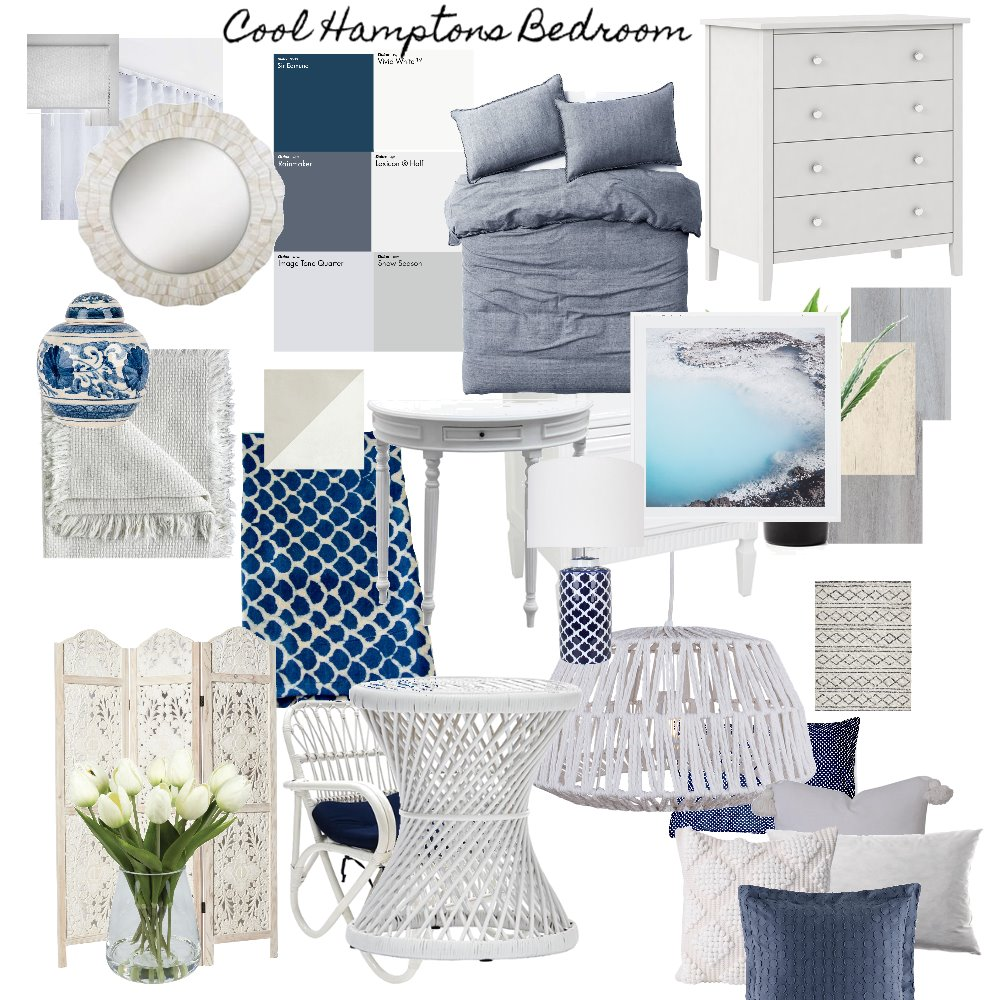 Cool Hamptons Bedroom Interior Design Mood Board by Amelia Strachan Interiors on Style Sourcebook