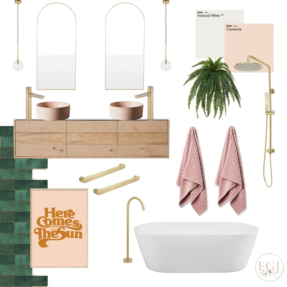 Green & Pink Bathroom Mood Board by Eliza Grace Interiors on Style Sourcebook