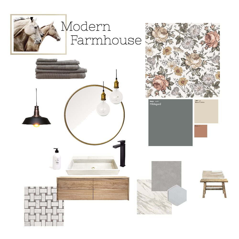 Modern Farmhouse Powder Room Interior Design Mood Board by cpinteriors on Style Sourcebook
