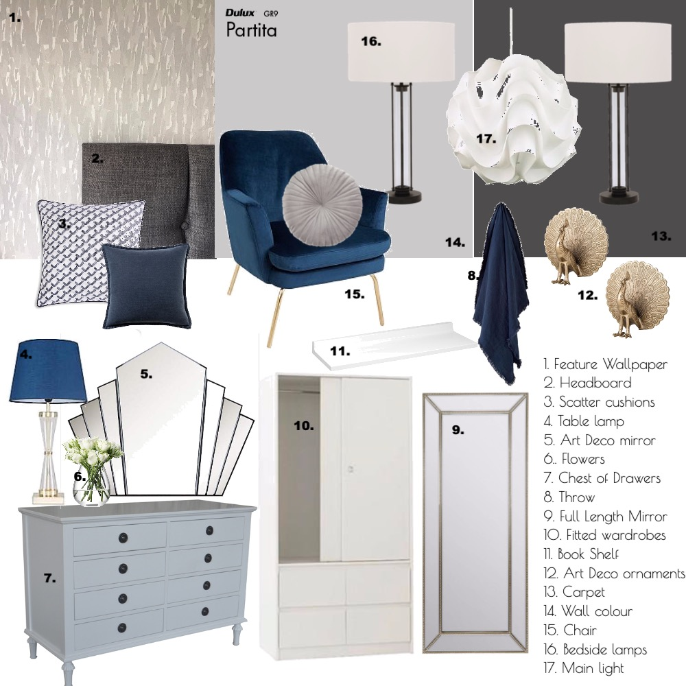 Modern / Art Deco bedroom Interior Design Mood Board by pross80 on Style Sourcebook