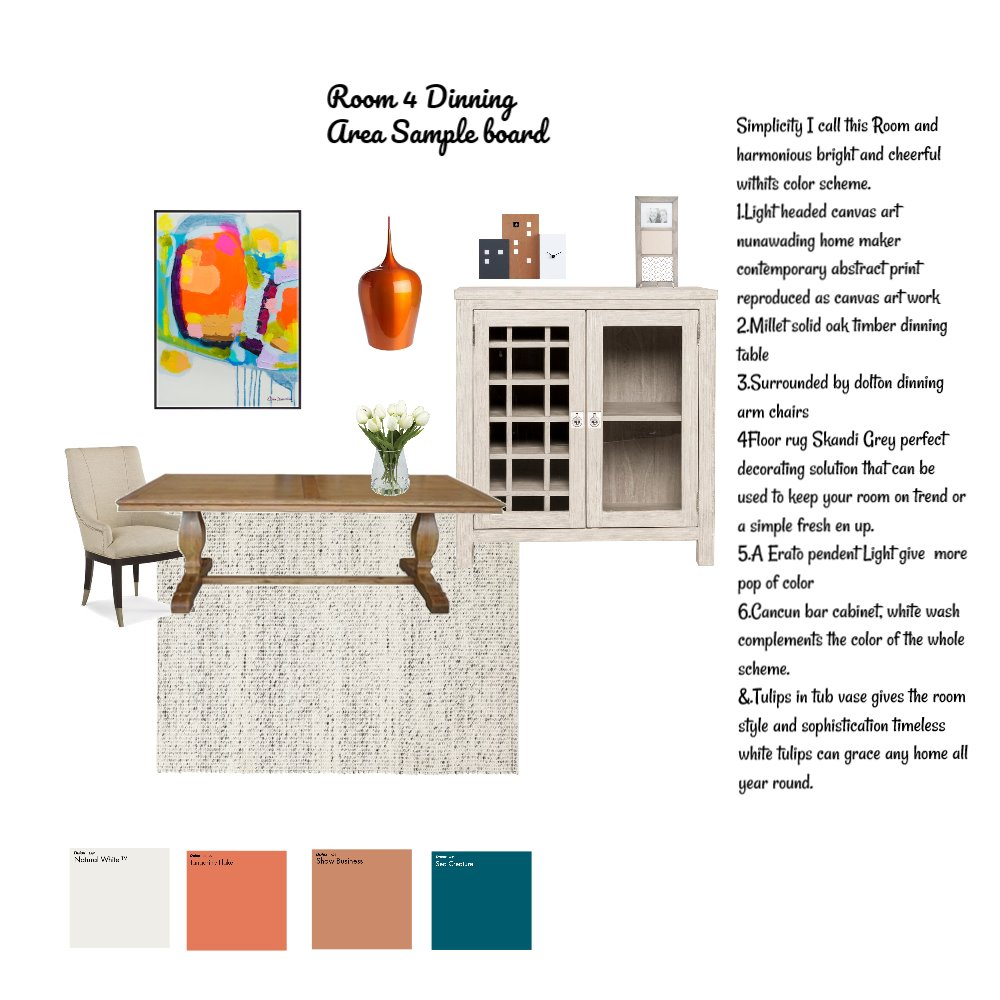 Sample room 4 Dinning area Interior Design Mood Board by Baylisse on Style Sourcebook