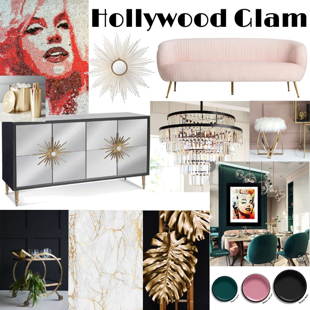 Hollywood Glam Dining decor Interior Design Mood Board by TatumG-NZ on Style Sourcebook