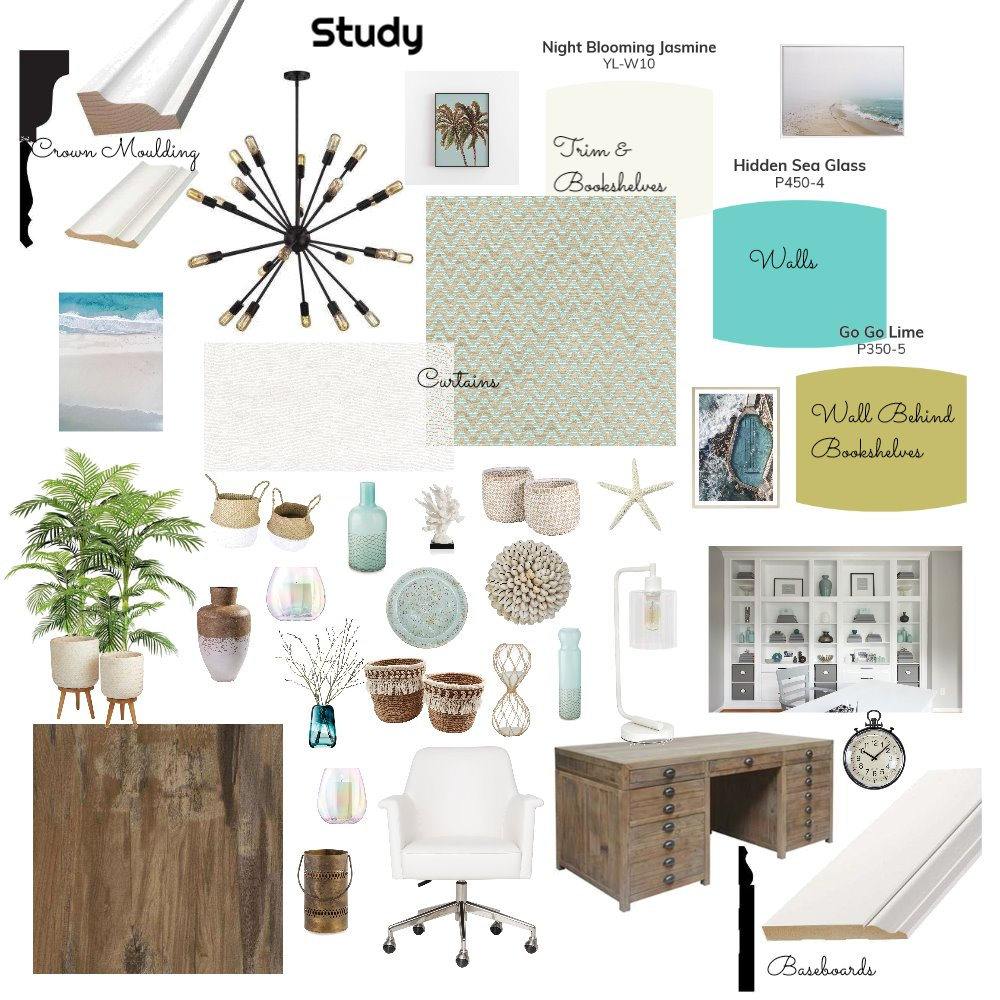 Rustic Beach Study Interior Design Mood Board by LesliePelonero on Style Sourcebook