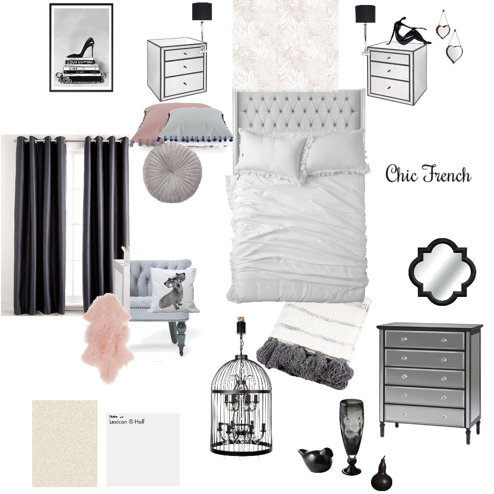 Chic French Bedroom Interior Design Mood Board by CindyBee on Style Sourcebook
