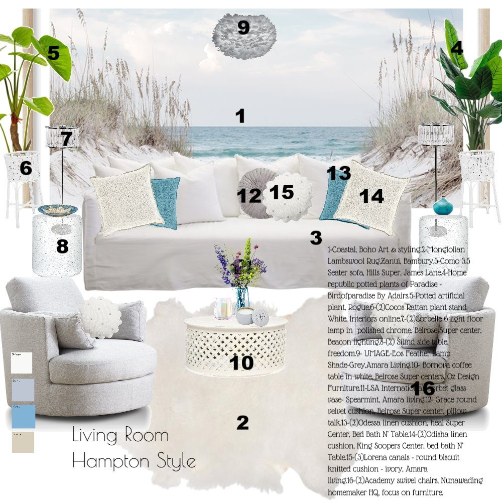 living room hampton styl 2 Interior Design Mood Board by fariba on Style Sourcebook