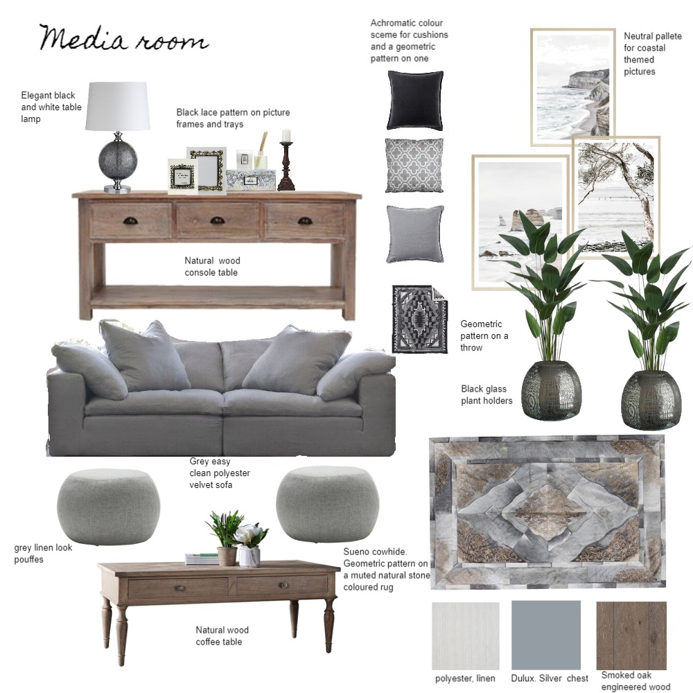Media Room Interior Design Mood Board by Katerina on Style Sourcebook