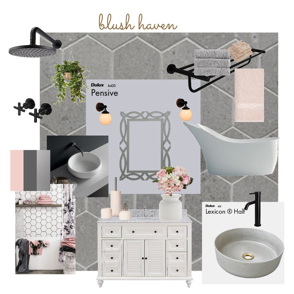 bLush Haven Rest room Interior Design Mood Board by ANED on Style Sourcebook