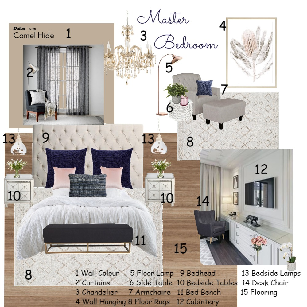 Master Bedroom Interior Design Mood Board by ksadik on Style Sourcebook