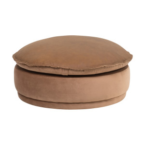 Gambia Footstool Large in Cognac Leather/Velvet by OzDesignFurniture, a Ottomans for sale on Style Sourcebook