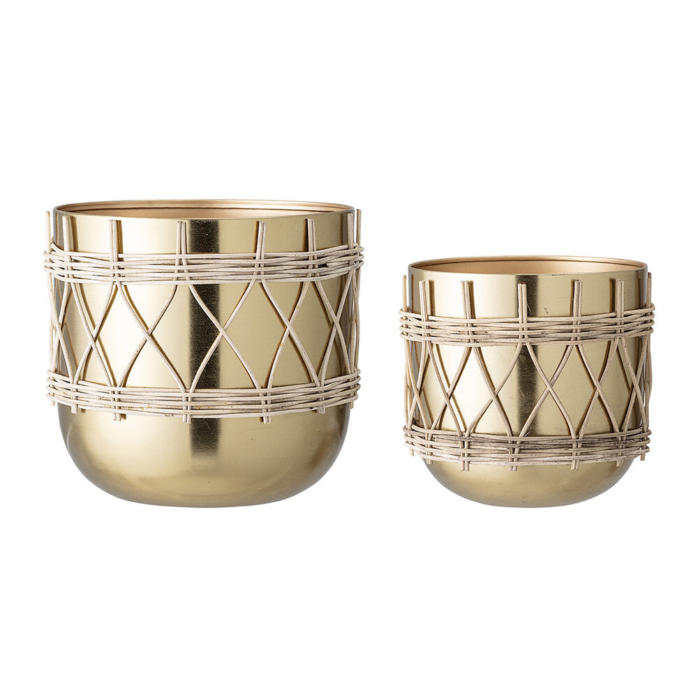 Bloomingville - Detailed Flowerpot - Set of 2 - Gold by Bloomingville, a Plant Holders for sale on Style Sourcebook