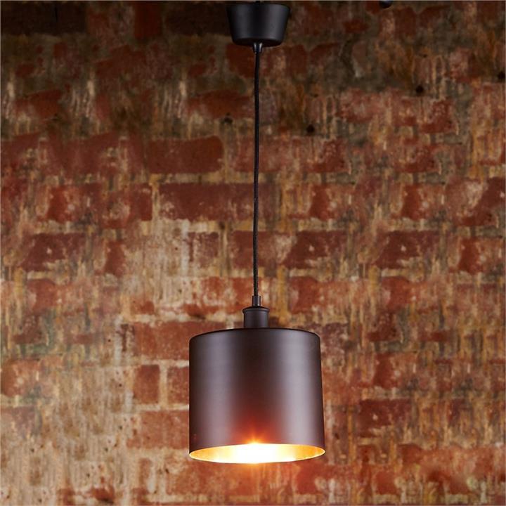 Portofino Metal Pendant Light, Black / Copper