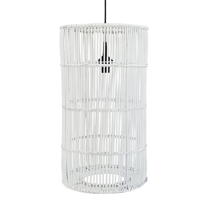 Avita Rattan Cyclinder Pendant Light, White
