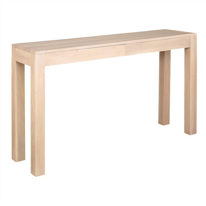 Amsterdam Solid Mahogany Timber 2 Drawer Sofa Table, White Wash