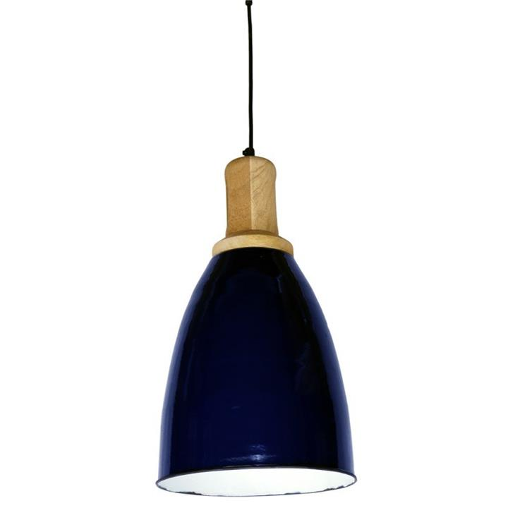 Tanzy Iron Pendant Light with Wooden Top, Navy