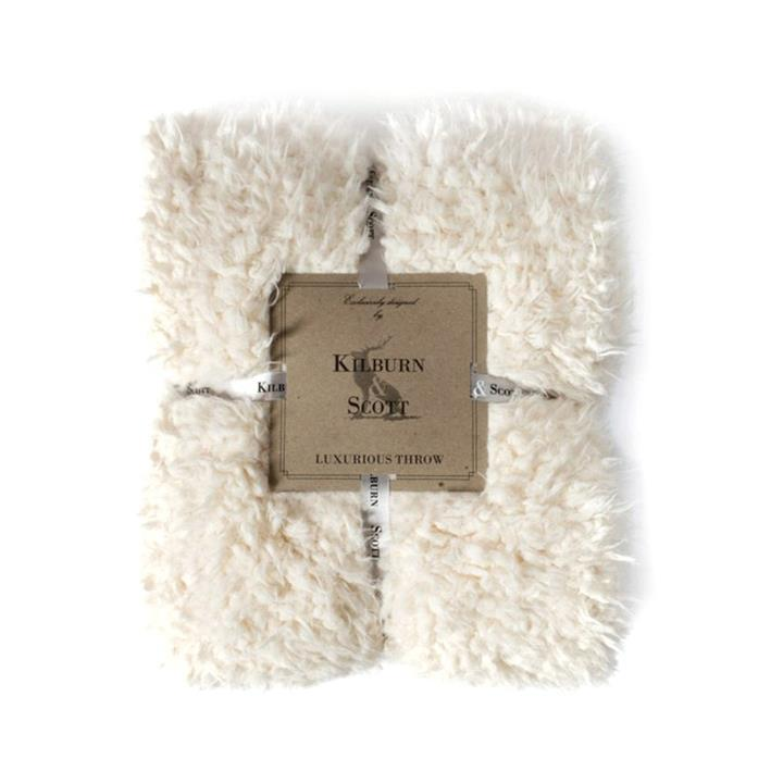 Kilburn & Scott Lined Faux Sherpa Throw, Cream