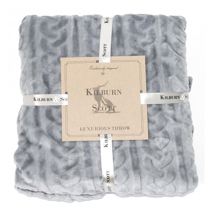 Kilburn & Scott Cable Fleece Throw, Grey