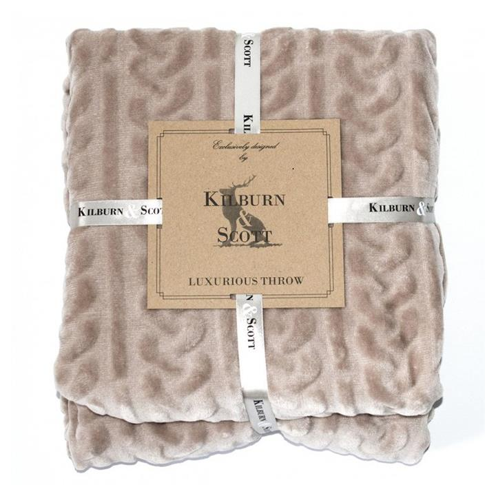 Kilburn & Scott Cable Fleece Throw, Natural