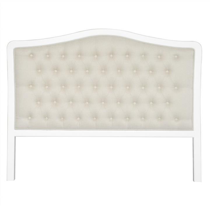 Maison Tufted Linen & Oak Timber Bed Headboard, Double, White / Oatmeal