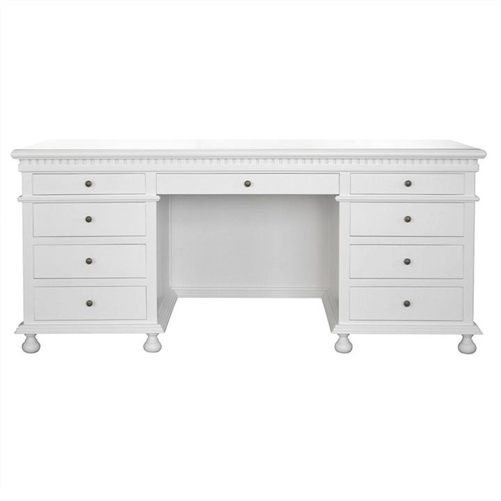 St. James Birch Timber Exclusive Desk, 180cm, Matt White